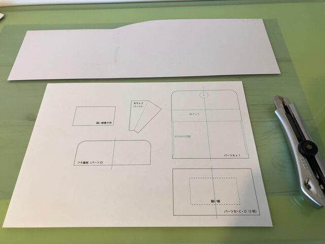 厚紙と印刷した型紙